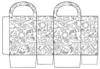 Christmas Craft, Gift Basket Coloring Pages, Christmas
