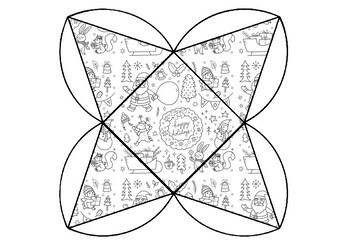 Christmas Craft, Pyramid Gift Box Coloring Pages, Fine