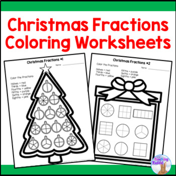 Christmas Fractions Coloring Worksheet by The Teaching