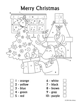 Christmas Fun Color by Number Reindeer Coloring Page