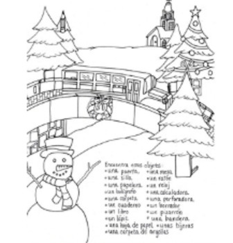 Christmas Hidden Pictures School Supplies Color Sheet by