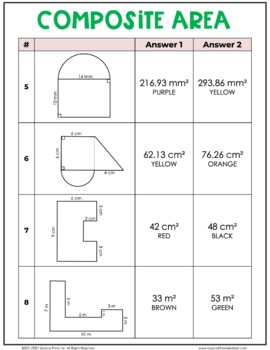 Area of Composite Figures Coloring Worksheet by Lindsay