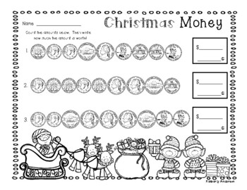 Christmas Holiday: Differentiated Money Practice Worksheet