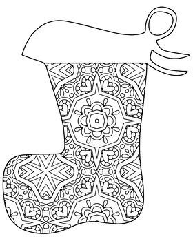 Christmas Holiday Stockings Zentangle & Mandala Coloring