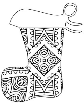 Christmas Holiday Stockings Zentangle & Mandala Coloring