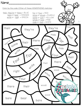 Christmas Homophones Worksheets/ Task Cards/ Game / Bonus