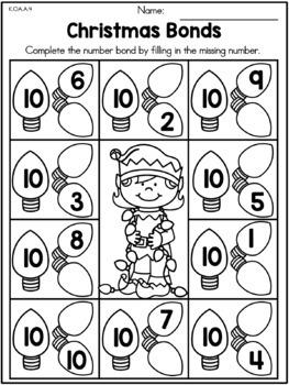 Christmas Math Worksheets (Kindergarten) by United