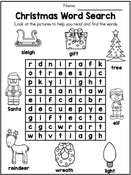 Christmas Kindergarten Vocabulary Activities by United