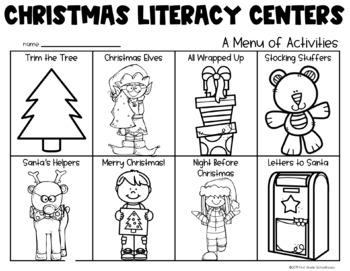 Christmas Literacy Centers for First Grade by First Grade