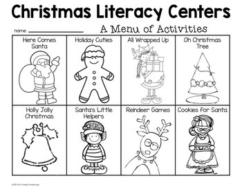 Christmas Literacy Centers for Kindergarten by First Grade