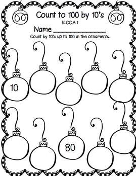 Christmas Math for Kindergarten: CCSS Aligned Worksheets