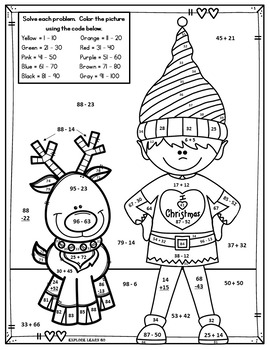 Christmas Math Fun / Elf Two Digit Addition & Subtraction
