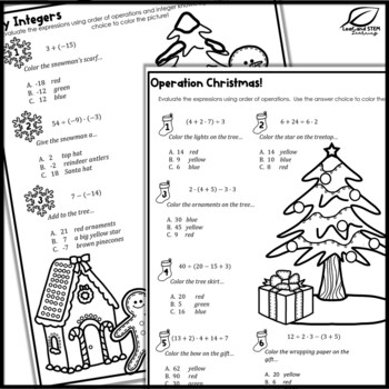 Christmas Math Puzzles for Middle School by Leaf and STEM