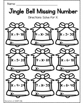 Christmas Math Worksheets (Third and Fourth Grade) by