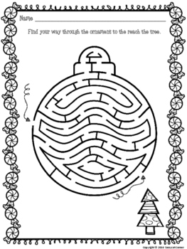Christmas Mazes for Holiday Activities by Sassycat Corner