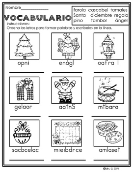 Spanish Christmas Literacy Packet Navidad by Mrs G Dual
