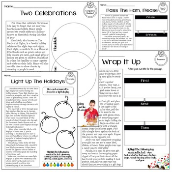 Christmas Nonfiction Text Structure Passages by Red Specs