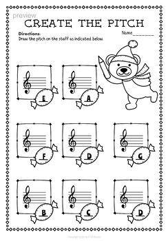 Christmas Treble Clef Note Reading Worksheets by