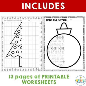 Christmas Patterns and Symmetry Worksheets by Alison