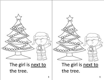 Christmas Preposition Book Black and White (coloring) by