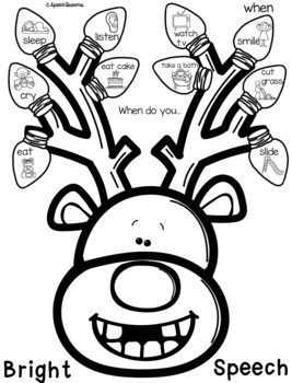 Christmas Reindeer Lights Speech Therapy Craft {language