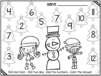 DOLLAR DEAL!! Christmas Roll and Color Addition Game by