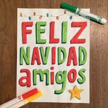 Christmas ~Spanish Feliz Navidad ~Word Wall ~bulletin