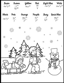 Exponent Rules Coloring {Exponent Rules Christmas} {Winter