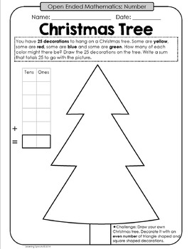 Christmas Themed Open Ended Mathematics Tasks by Learning