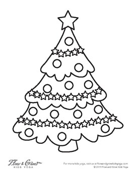 Christmas Tree Coloring Page By Flow And Grow Kids Yoga Tpt