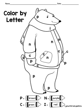 Winter Activity Color By Letter Coloring Pages by The