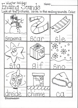 Christmas Winter Words Beginning and Ending Sounds