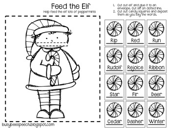 Christmas Worksheet & Homework Pack for Speech Therapy by