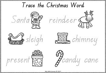 Christmas Worksheets QLD Beginners Font by My Little