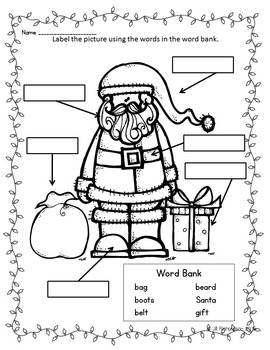 Christmas Writing with Labels! Christmas ESL Fun ELL