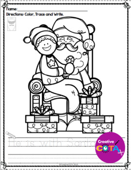 Christmas Writing Coloring Pages with Trace and Write