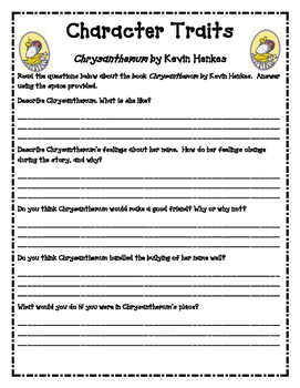 Chrysanthemum Character Traits Worksheets By Simplify And Teach  Tpt