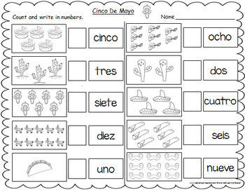 Cinco De Mayo Themed Spanish Number Words Worksheets (1-10