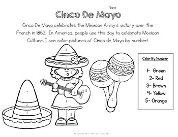 Cinco De Mayo Worksheet- Color by Number- FREE by Fun in