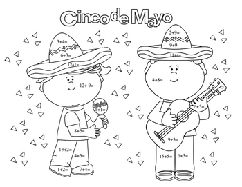 Cinco de Mayo Math Facts Addition Coloring Page by