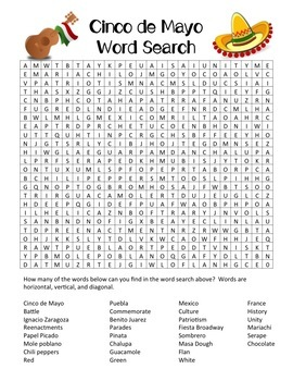 Cinco de Mayo Word Search (with optional text) Answer Key
