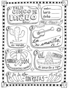 Cinco de mayo ~fill in the blanks and coloring worksheet