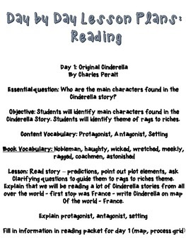 Cinderella Around The World: Reading and Writing