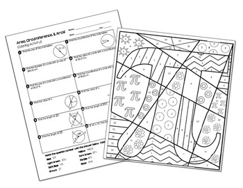Area, Circumference, and Arc Lengths of Circles Coloring