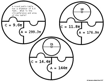 Circles: Circumference and Area (Pi) Cut, Paste, Solve