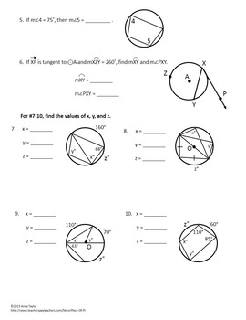 Circles Tangents Arcs Inscribed Angles Printables Practice