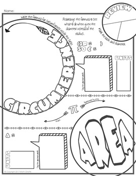 Circumference and Area of a Circle Doodle Notes by Math
