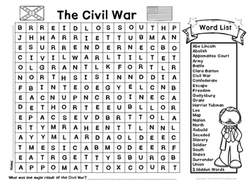 American Civil War Word Search with Hidden Words by Heart