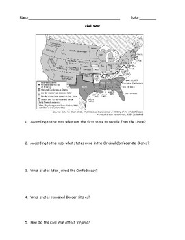 Civil War Test and Answer Key TpT Social Studies Lessons