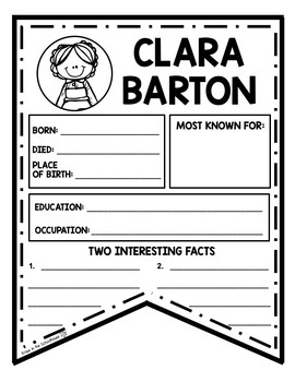 Clara Barton Research Activity Sheets and Graphic